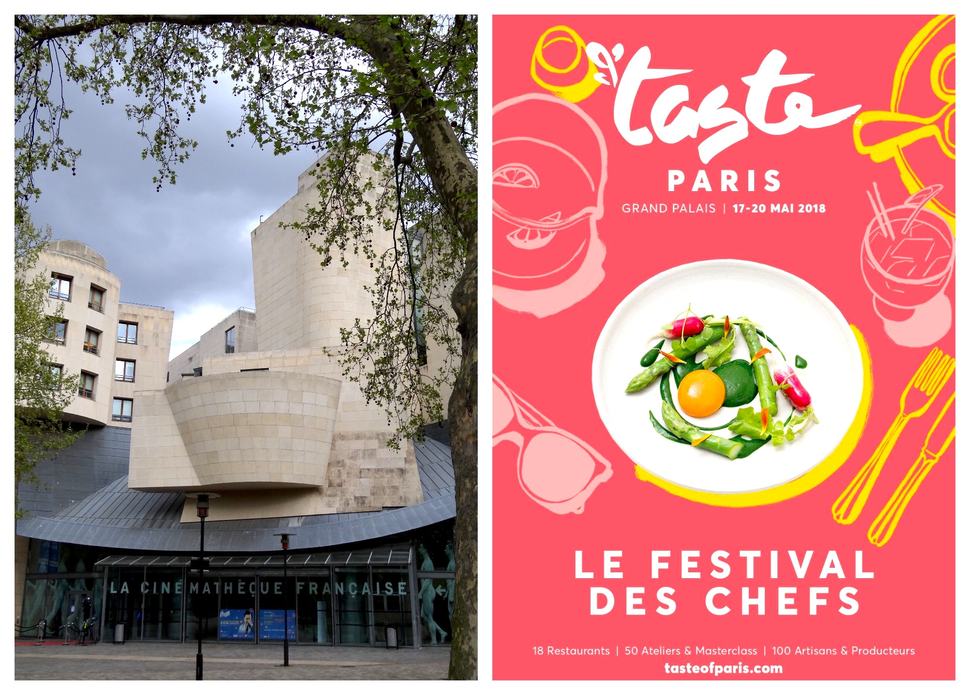 Events in Paris in May, including a film festival at Frank Gehry-designed cinematheque (left) and food festivals (right).