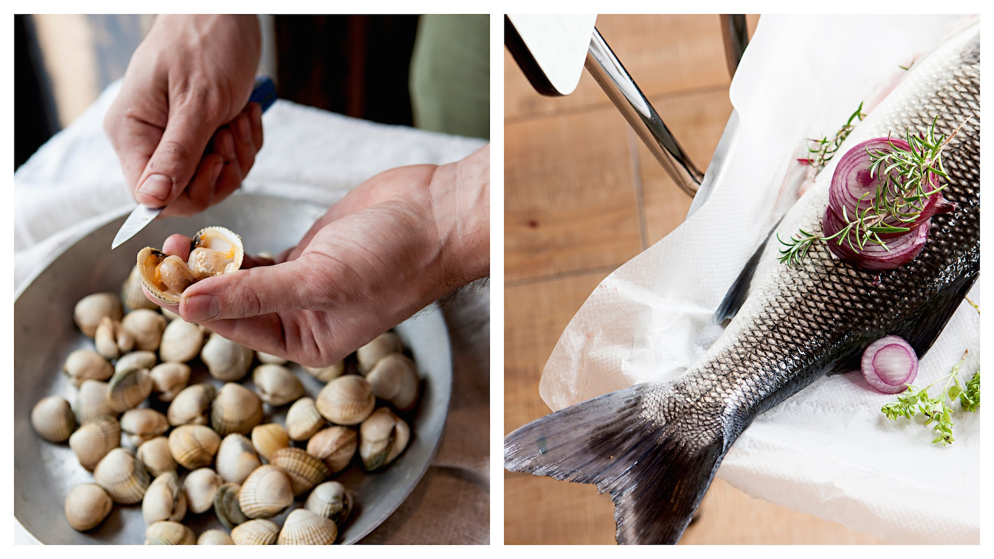 French ethical fish monger's, Poiscaille, sells fresh shellfish (left) and catch of the day (right).