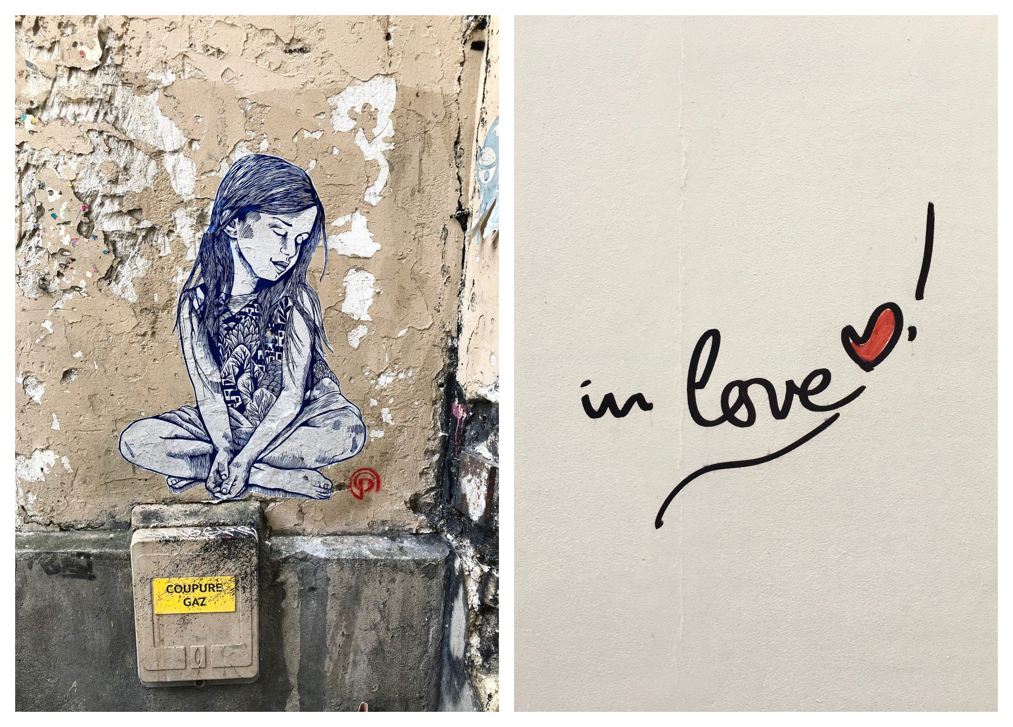 Street art in Paris is very diverse and includes the works of many different artists from all over the world from frescoes to stencil art like this piece of a little girl sitting cross-legged (left), and phrases like those by 'In Love' seen more recently, (right).