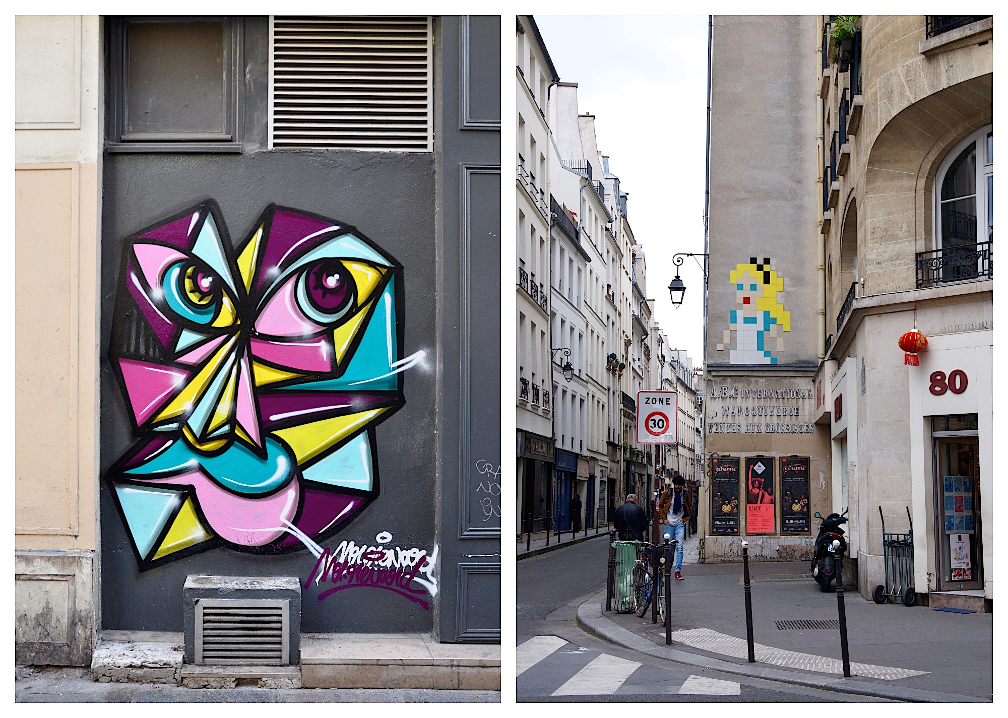 Street art in Paris is everywhere. See Clet Abraham's colorful pieces (left) and Invader mosaics (right).