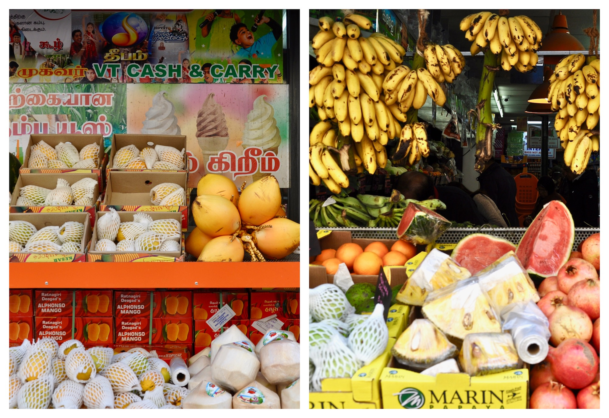 La Chapelle neighborhood in Paris has some coloful Indian food stores selling exotic fruit.