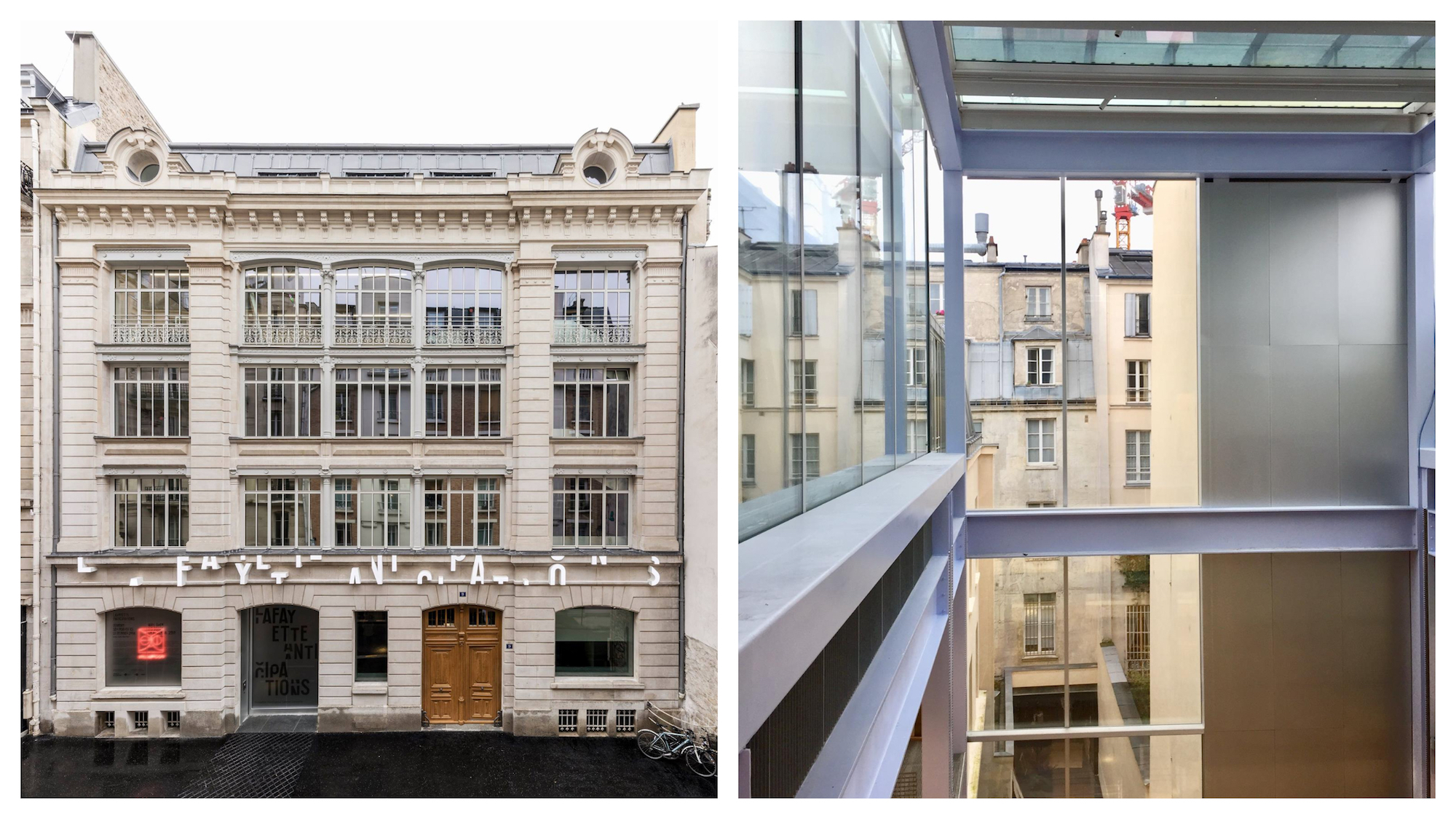 The building of new Paris contemporary art gallery and artist residency, Lafayette Anticipations in the Paris (left). Paris rooftop views from inside the gallery (right).