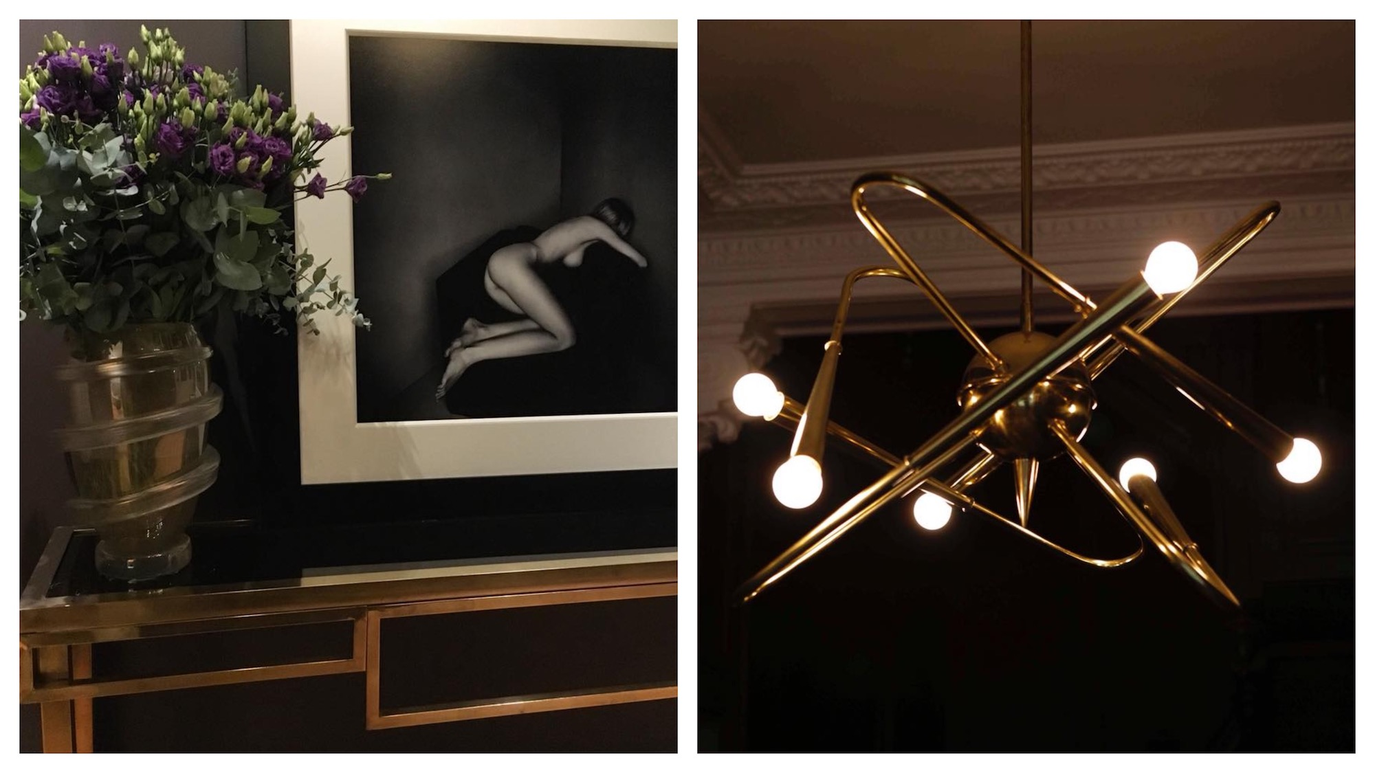Where to shop in Paris: a slinky vase with purple flowers and an arty picture of a naked woman (left) and a design brass lighting fixture (right) at secret luxury Paris concept store the Society Room.