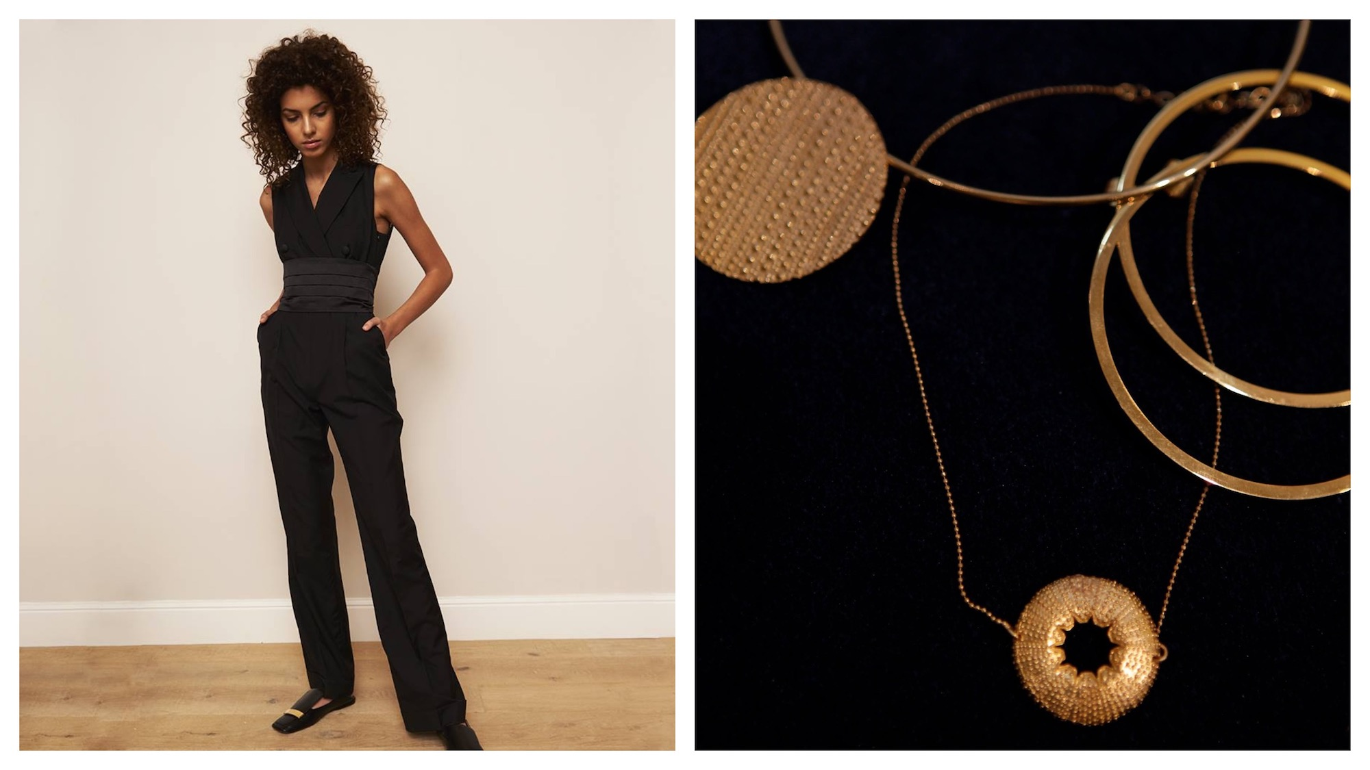 Shopping in Paris: a tuxedo style jumpsuit on a model (left) and handmade gold-plated jewelry (right) at secret luxury Paris concept store the Society Room.