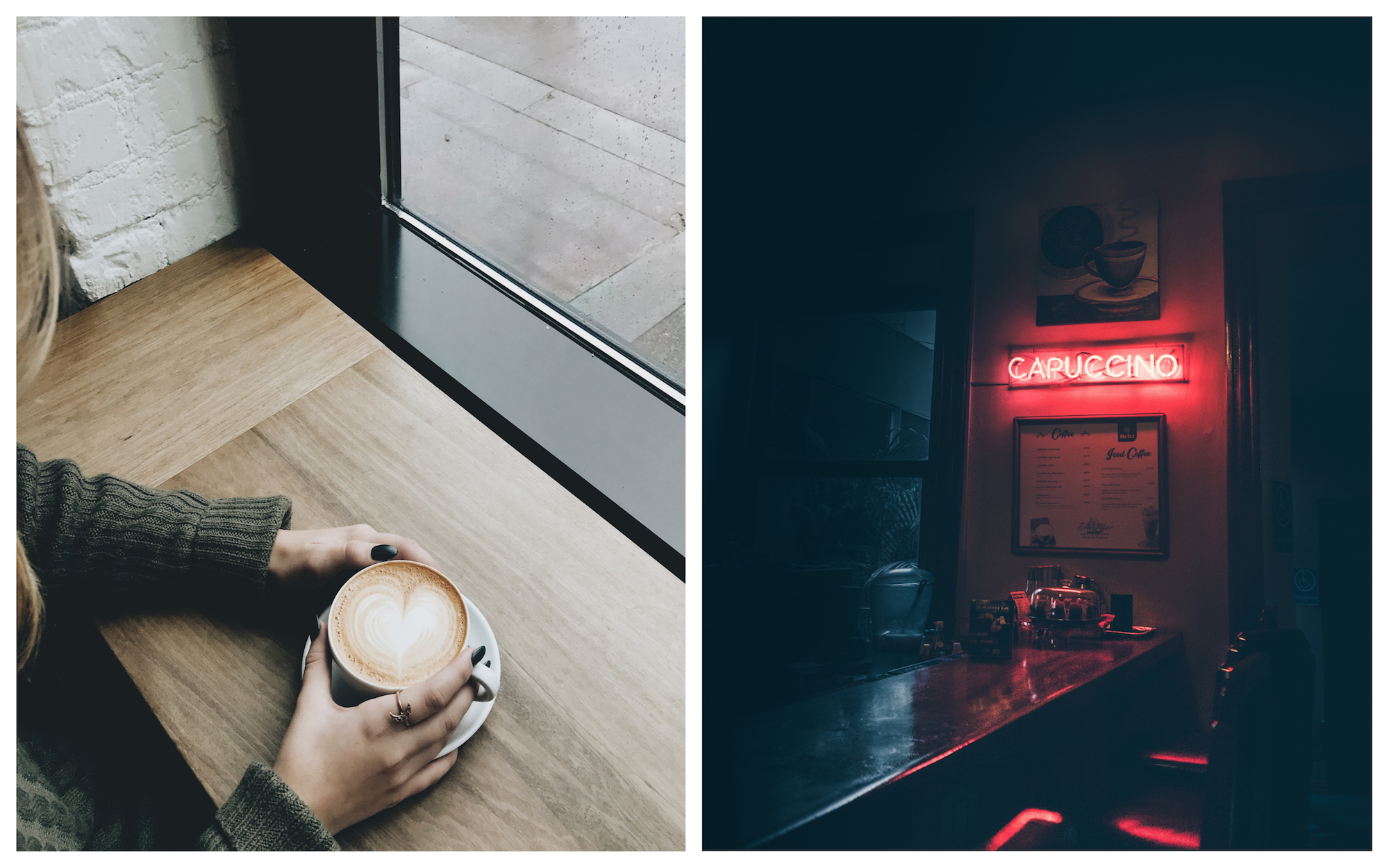 Paris coffee culture is slowly expanding outside of traditional cafes and into more American-style coffee shops (left) sometimes with design features like neon-lit signs inside that say things like 'Capuccino' (right).
