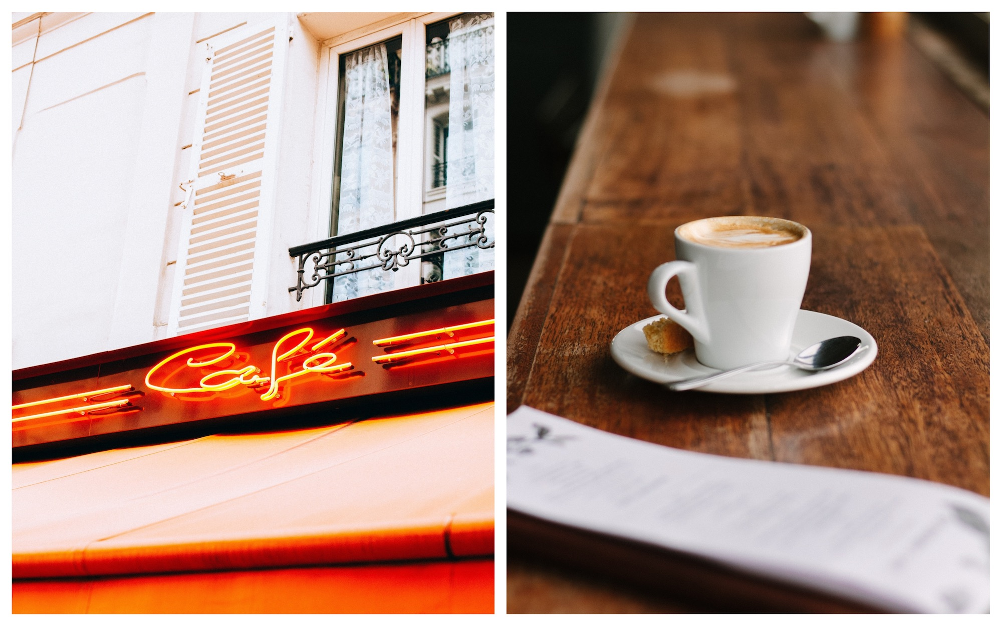 Paris cafes are very charming, and almost all have a neon-lit sign outside (left). And you can have coffee at a table or at the counter (right).