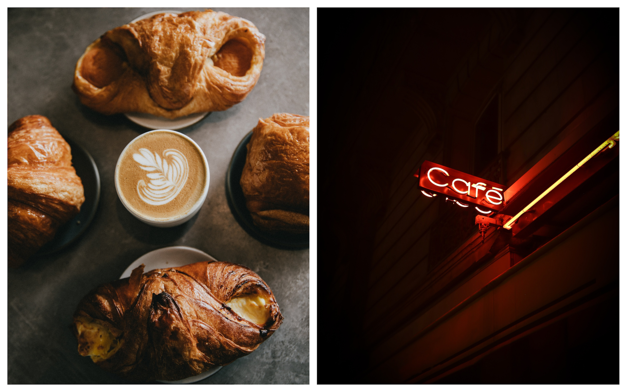 Cafés in France usually have croissants and pains au chocolat for breakfast (left). A red neon 'café' sign in Paris (right).