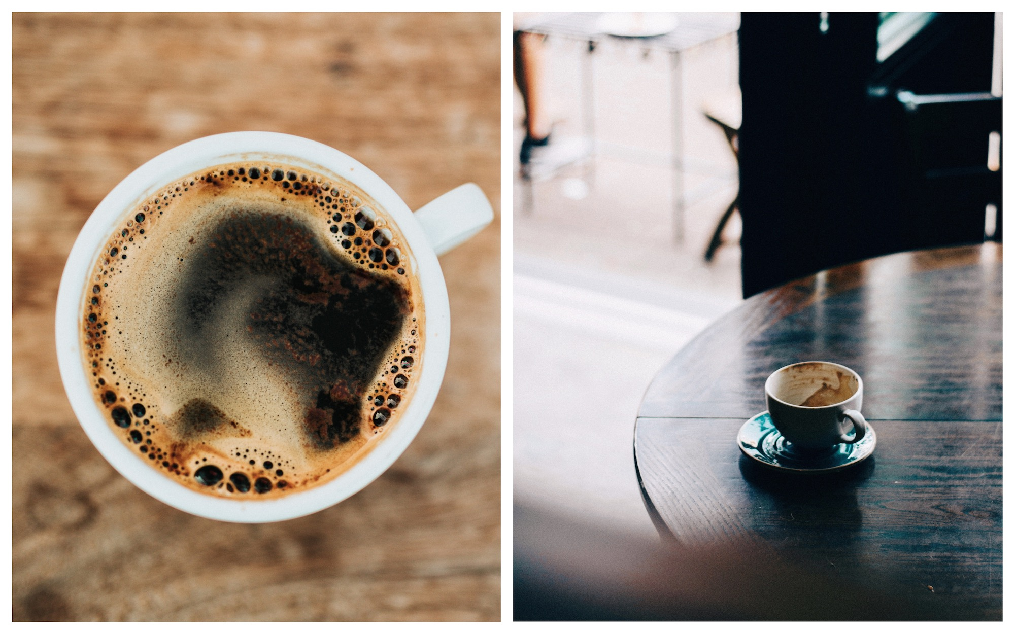 A top shot of a cup of coffee sitting on a wooden counter (left). And an empty of coffee sitting on a wooden table at a café in Paris (right).