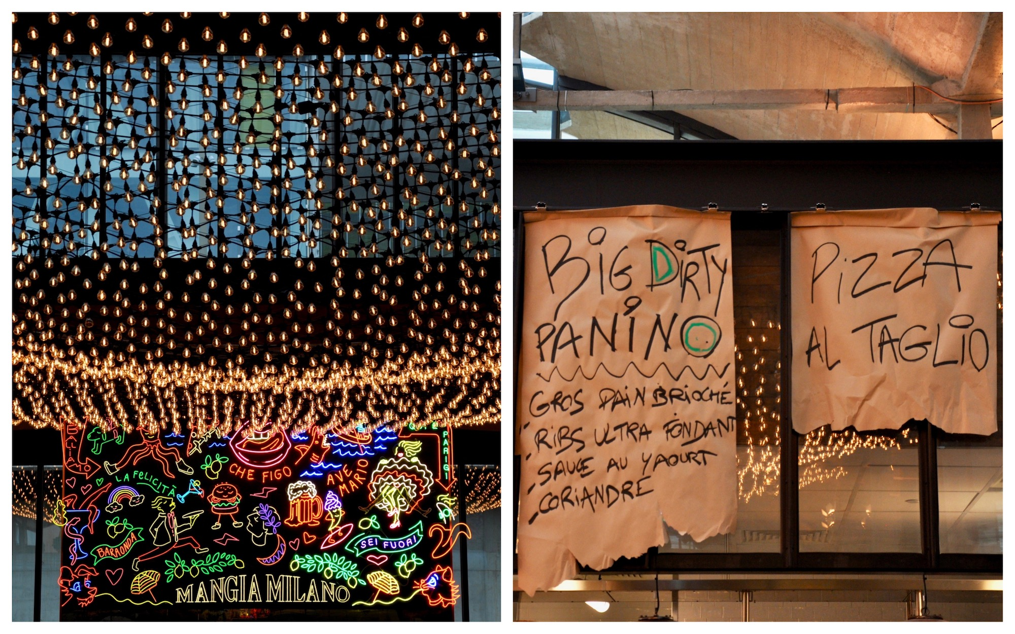 Paris restaurant, Big Mamma Group's La Felicita serves affordable Italian fare in fun surroundings lit up by fairylights and neon signs (left).The day's specials handwritten on paper (right).