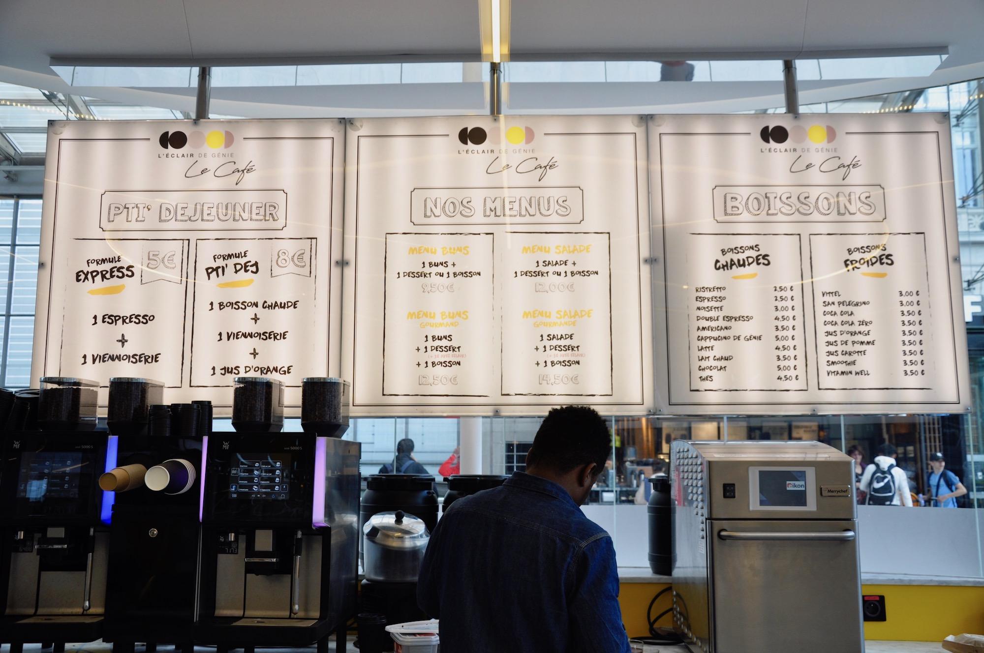 The breakfast menus at a L'Eclair de Génie at Gare du Nord station in Paris.