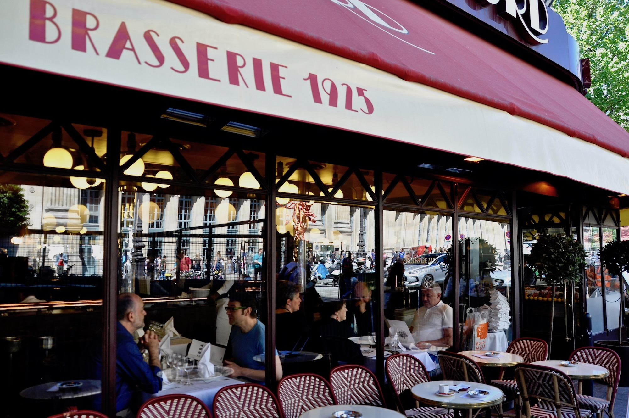 A great place to eat French food in Paris is brasserie Terminus Nord with its terrace, across the road from Gare du Nord.