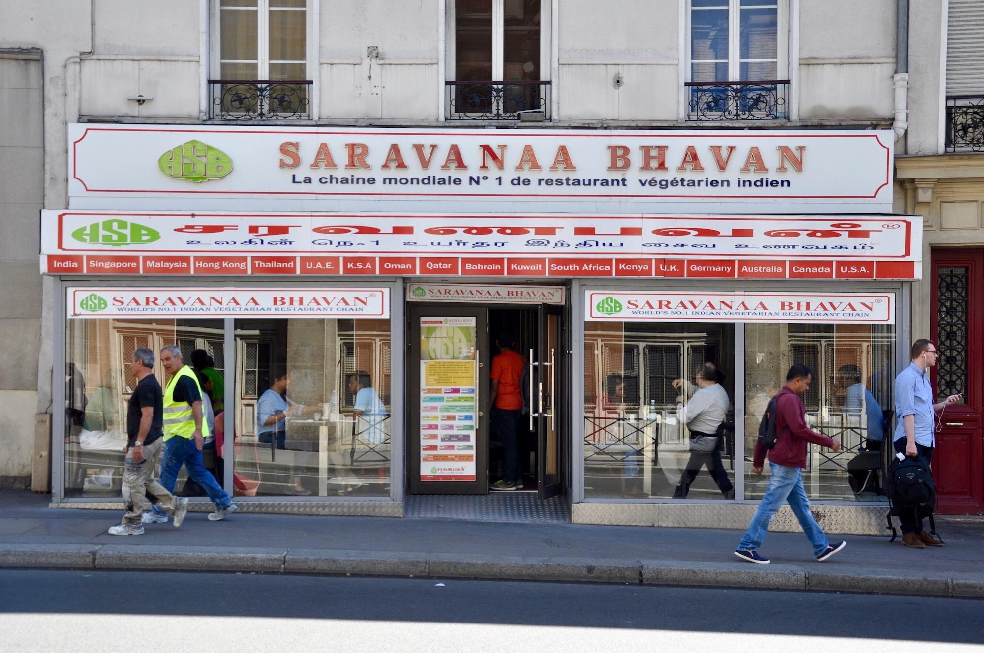 For vegetarian food in Paris, a favorite restaurant close to Gare du Nord is Saravanaa Bhavan.