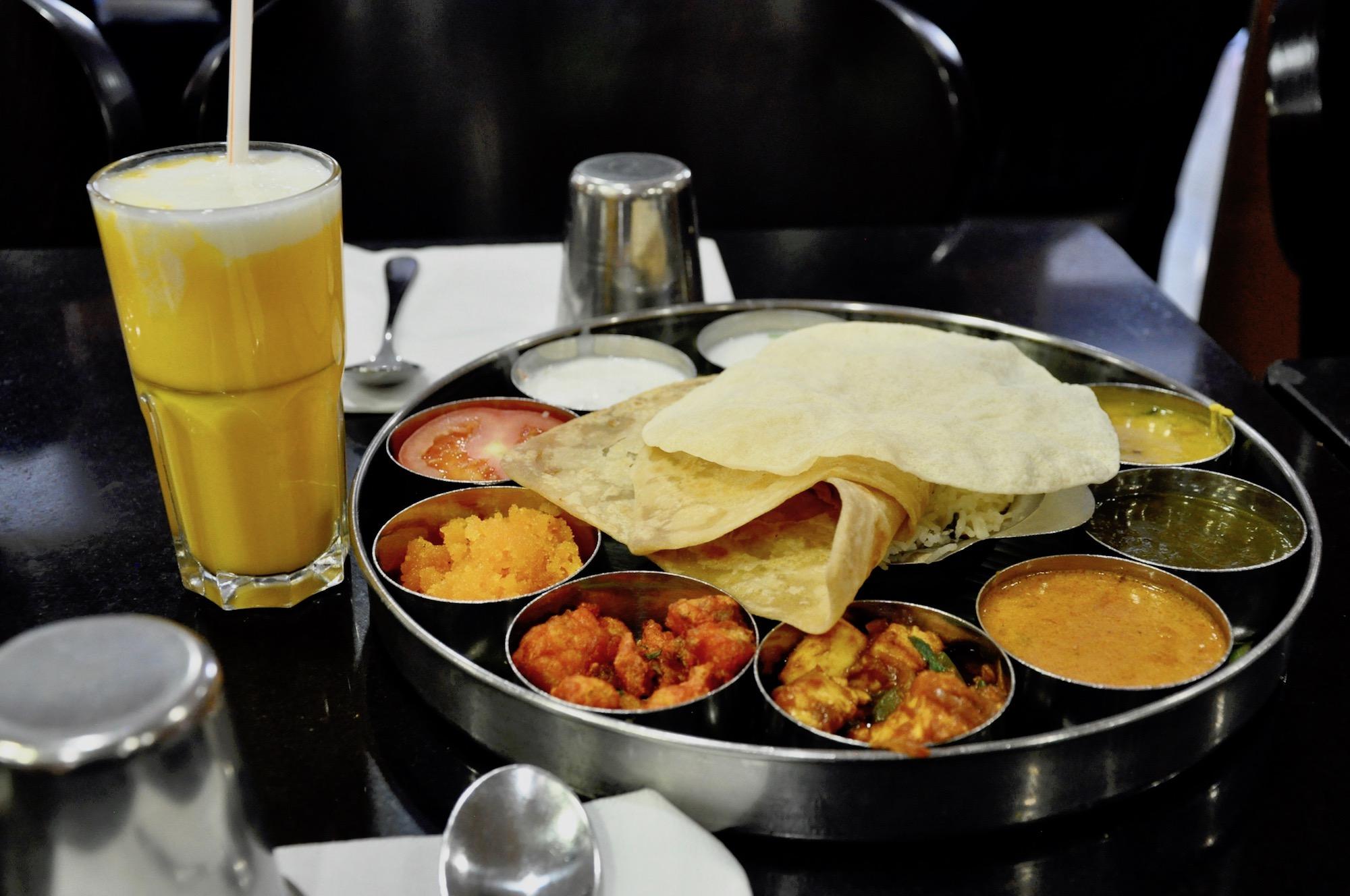 A vegetarian Thali meal at favorite Indian restaurant in Paris, Saravanaa Bhavan, near Gare du Nord station.
