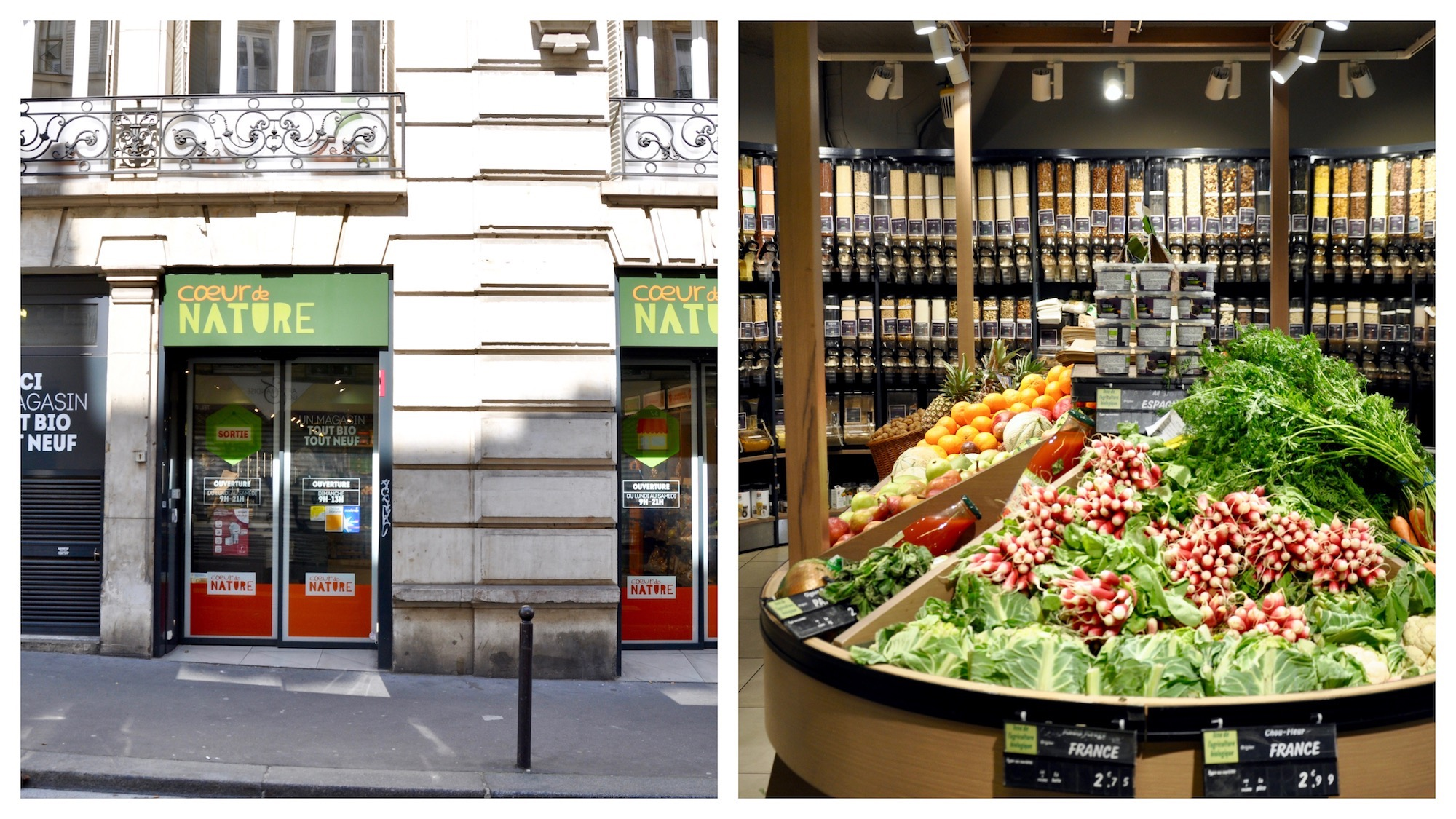 A great place to shop for organic food close to Gare du Nord in Paris is Coeur Nature.