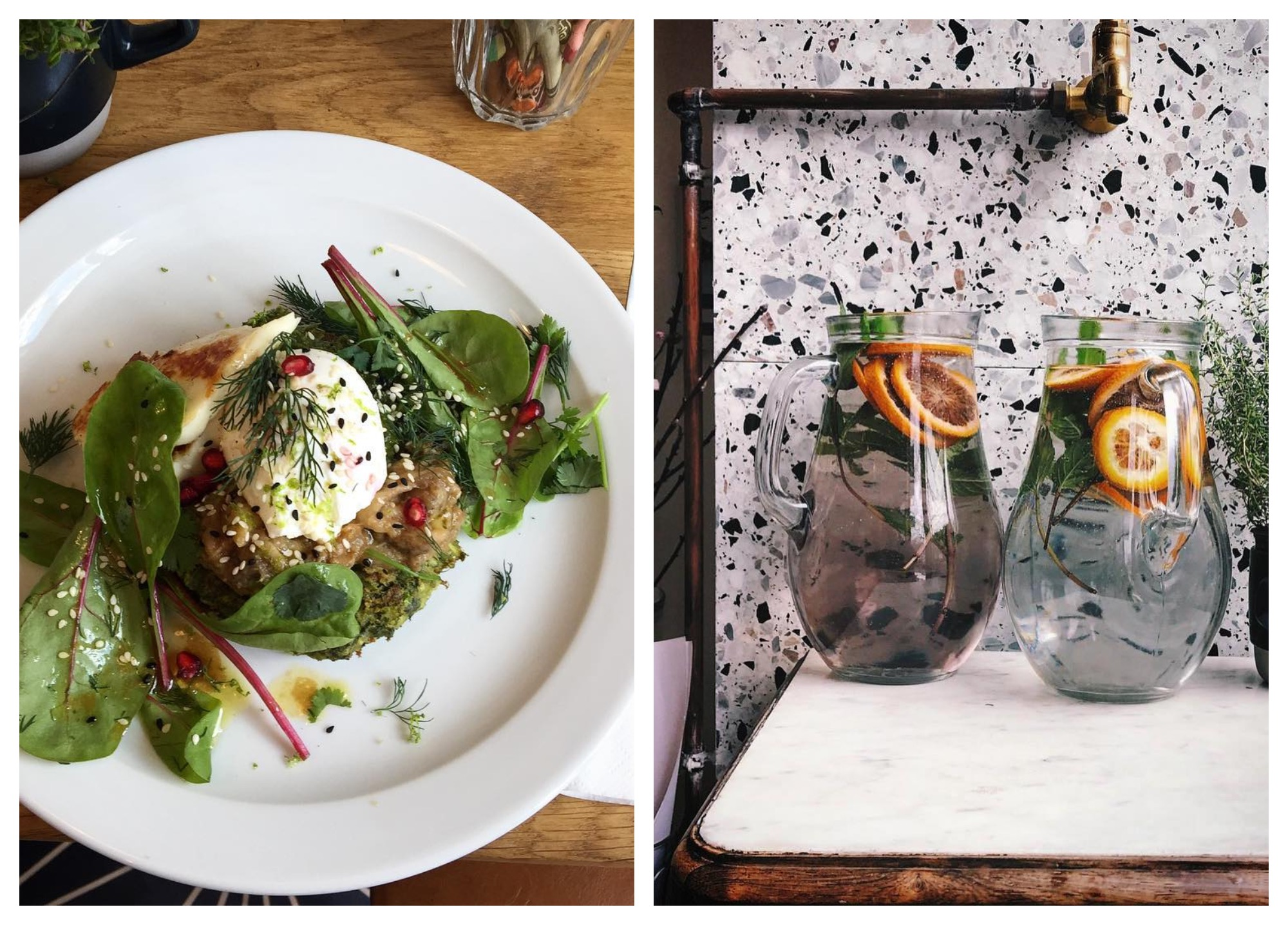 A great coffee shop for brunch in Paris close to the Marais is Neighbours, for its delicious salads (left), trendy decor and fruity water (right).