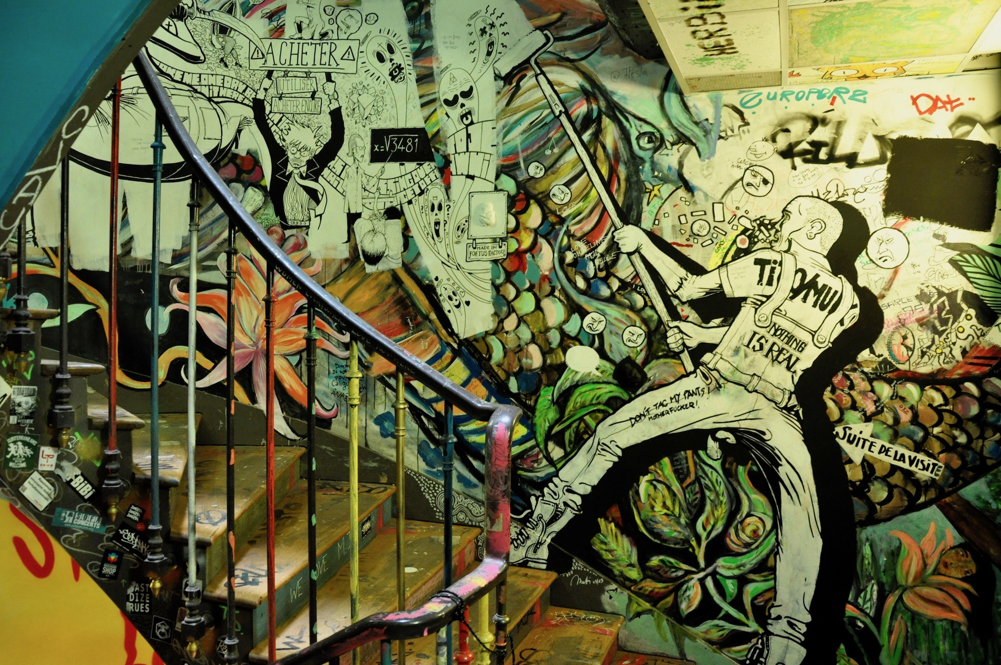 HiP Paris Blog discovers the many artist squats in Paris like the 59 Rivoli, a long-standing squat that's now legal and loved for its artworks covering the walls even in the stairwell.