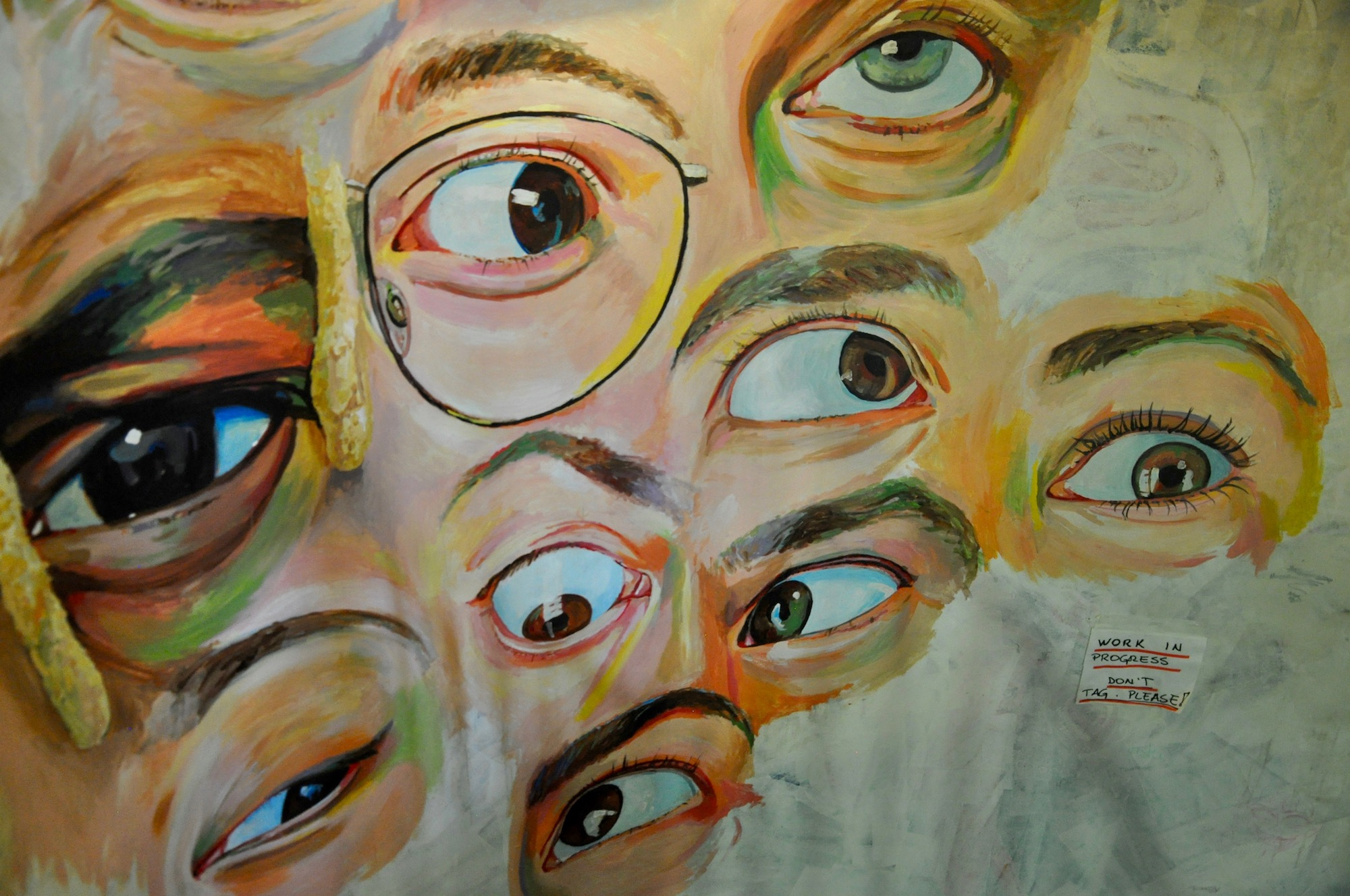 A painted mural of eyes at the Paris artist squat 59 Rivoli.