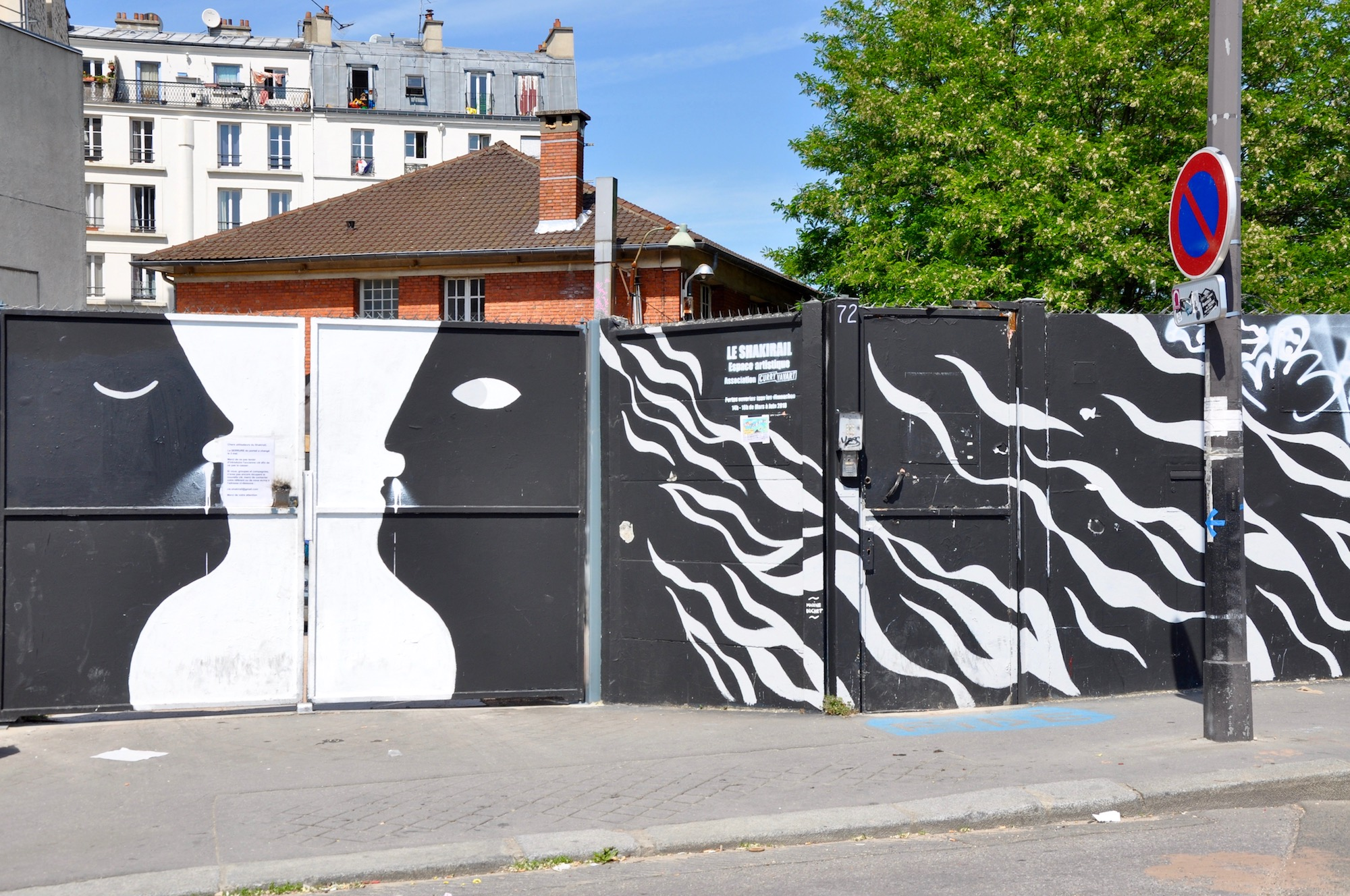 HiP Paris Blog discovers the many artist squats in Paris like the Shakirail with its black and white street art outside.