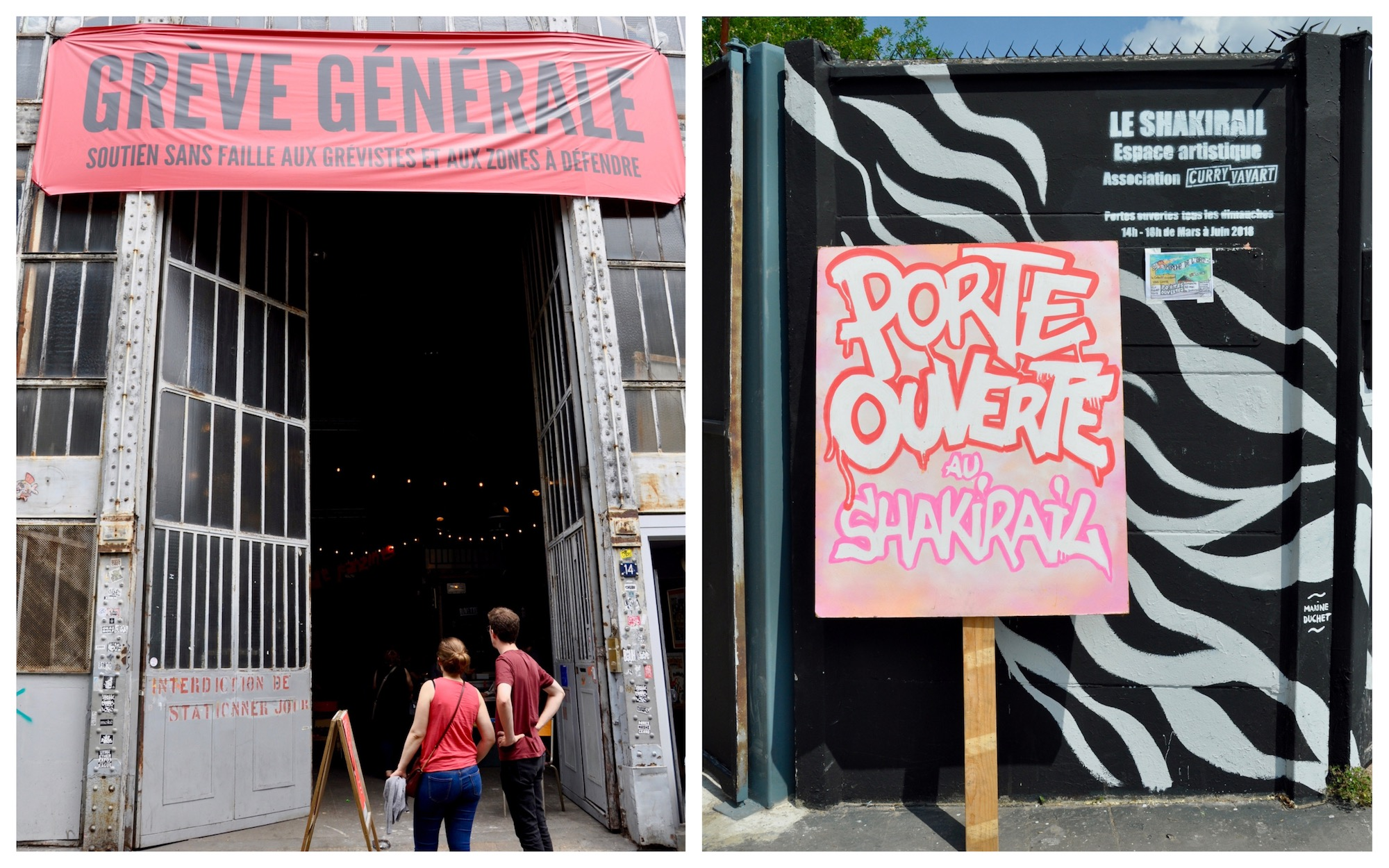 HiP Paris Blog discovers the many artist squats in Paris like La Générale with its open doors (left) and the Skakirail with its inviting street art (right).