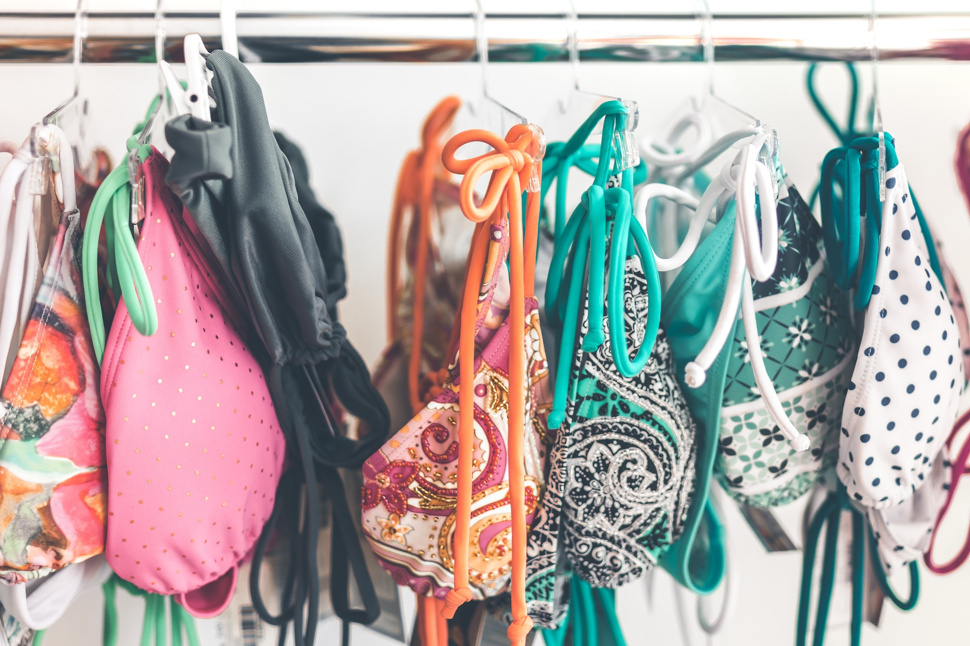 HiP Paris Blog tells you about one writer's experience bikini shopping in Paris like at the BHV which has a selection of colorful bikinis.