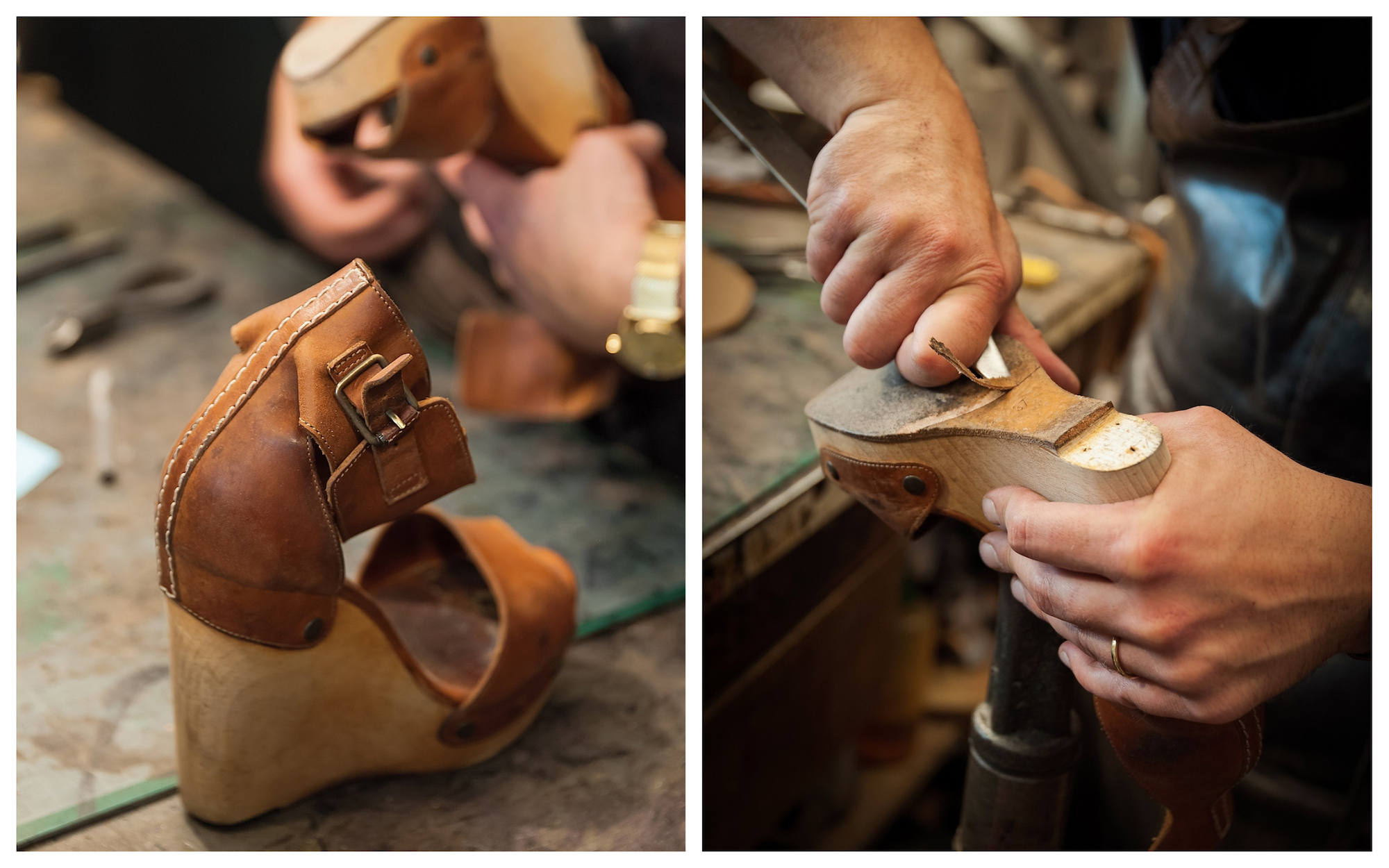 HiP Paris Blog checks out artisanal cobbler Atelier Constance in Montmartre and one of his high heeled leather espadrilles (left). Cobbler Jérôme Voisin working on the sole of a shoe (right).