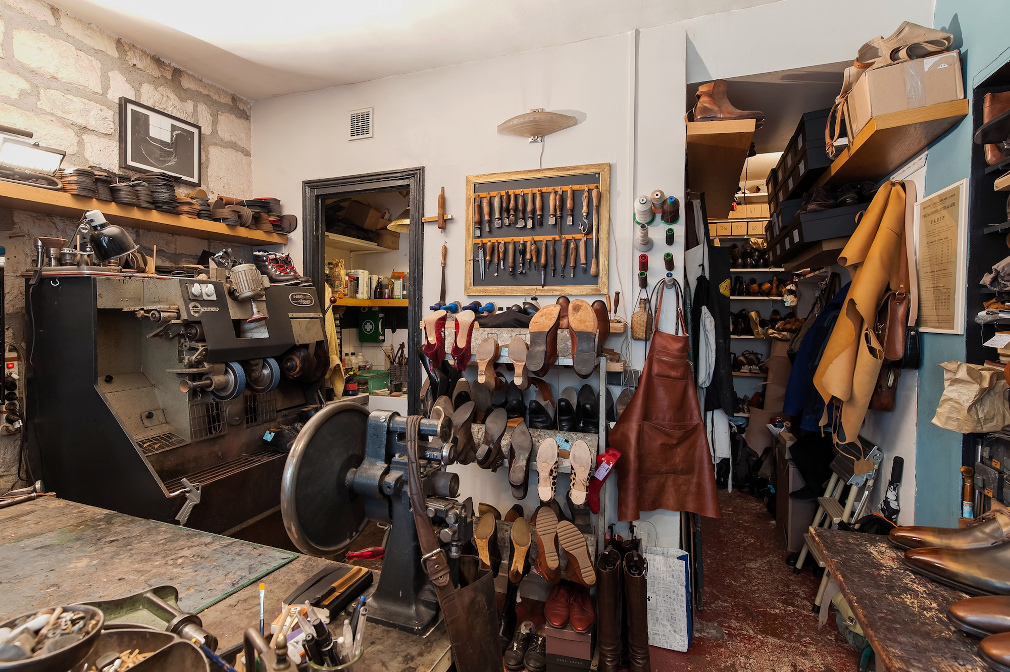 Inside the workshop of artisanal cobbler Atelier Constance in Montmartre.