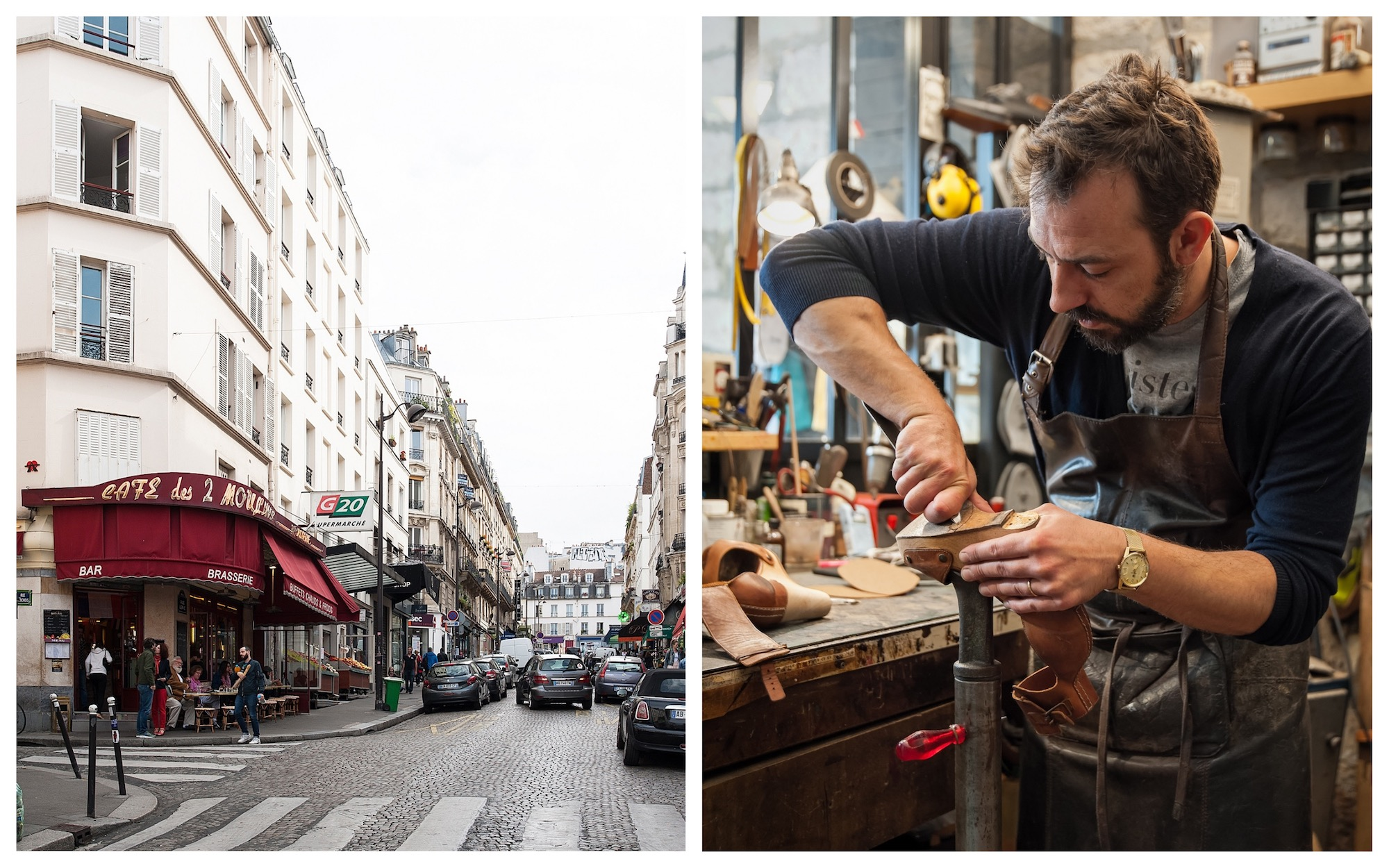Artisanal cobbler Atelier Constance in Montmartre is located close to the Café des 2 Moulins in Montmartre (left). Cobble Jérôme Voisin working on the sole of a shoe in his workshop (right).