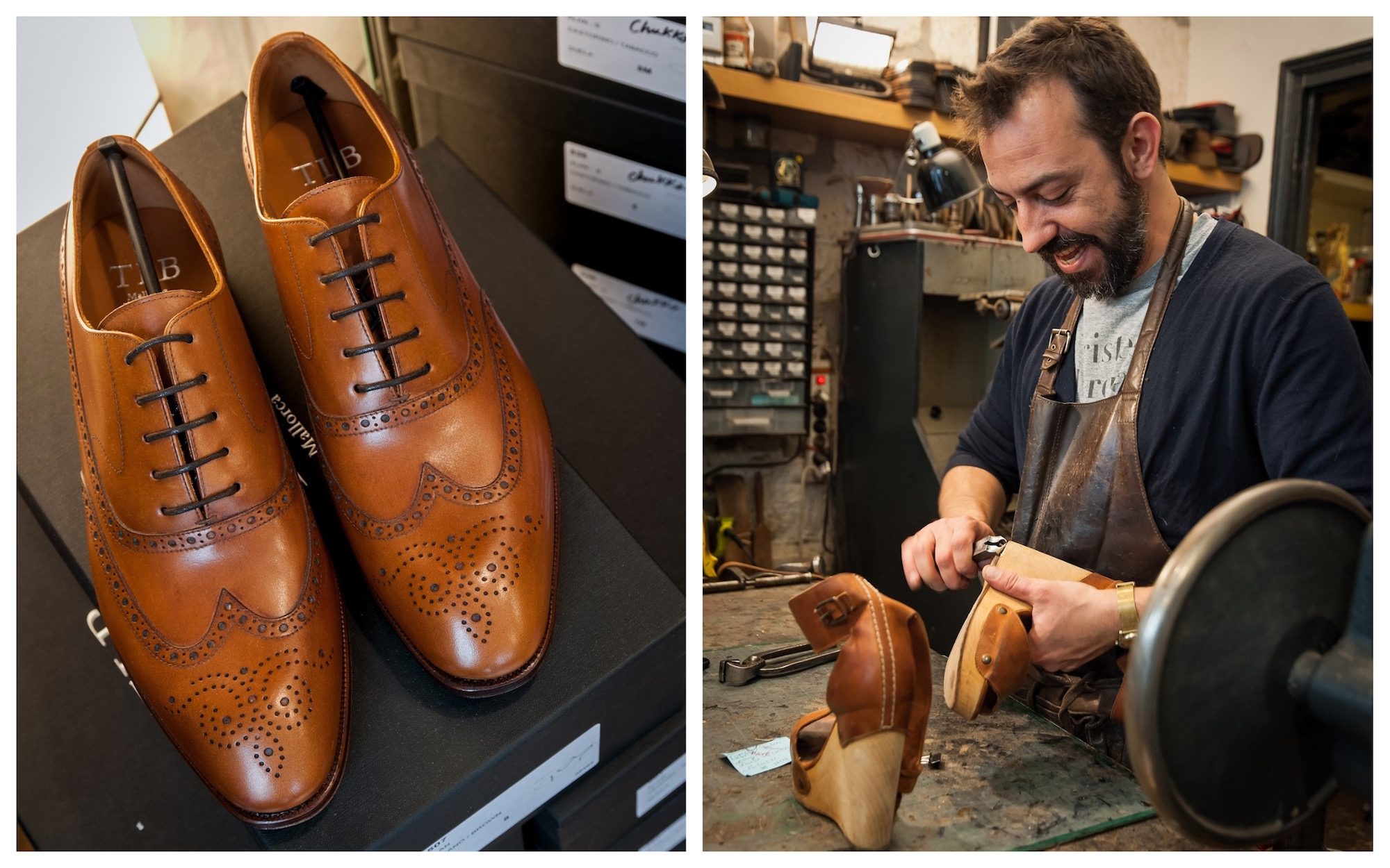 HiP Paris Blog checks out artisanal cobbler Atelier Constance in Montmartre and one of his shiny new pairs of Oxford men's shoes (left). Cobbler Jérôme Voisin working on a pair of women's espadrilles in his workshop (right).