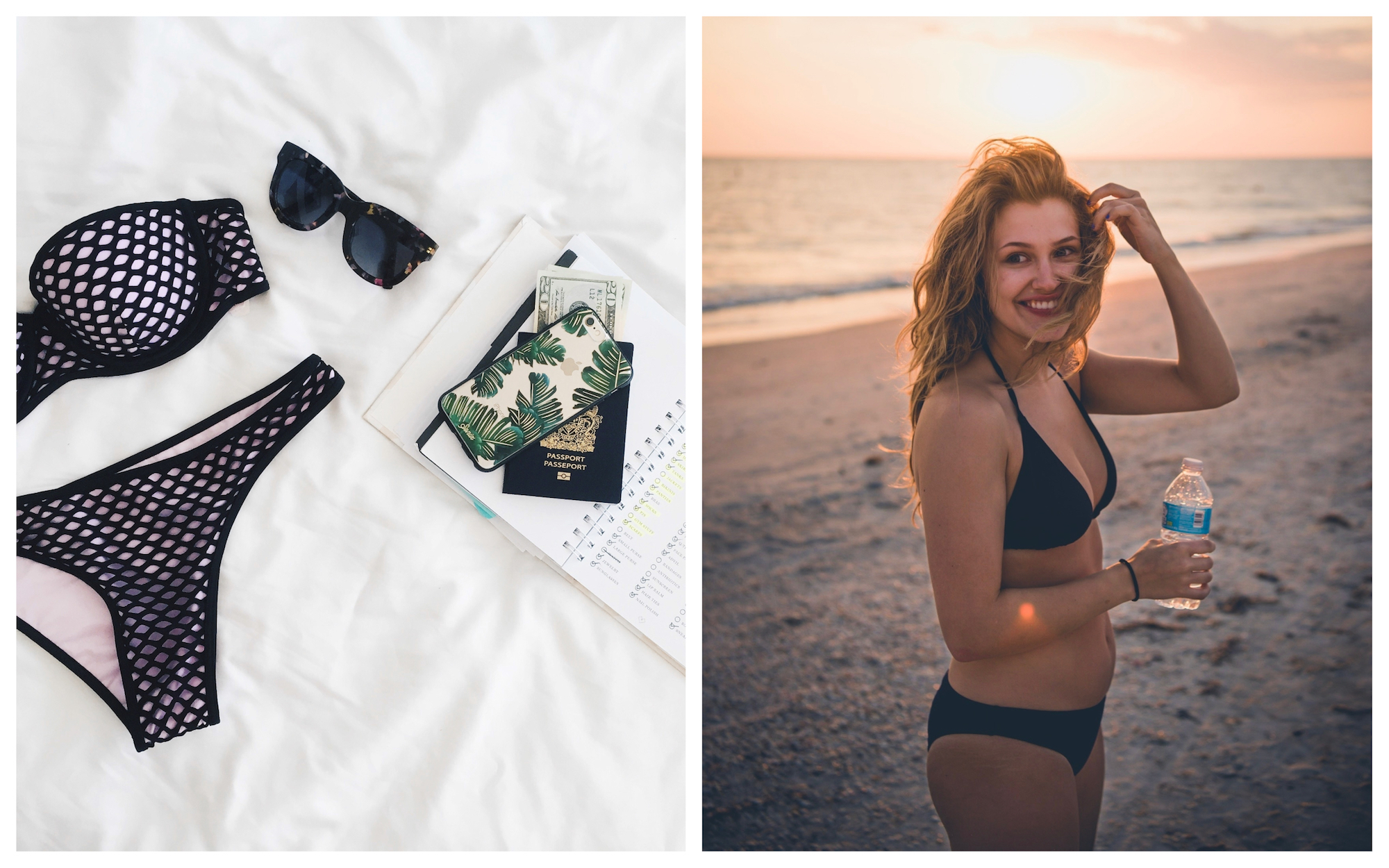 HiP Paris Blog tells you how to prepare for your summer holiday in Paris including bikini shopping for great black and pink two-pieces (left) and plain black bikinis to wear at the beach (right).