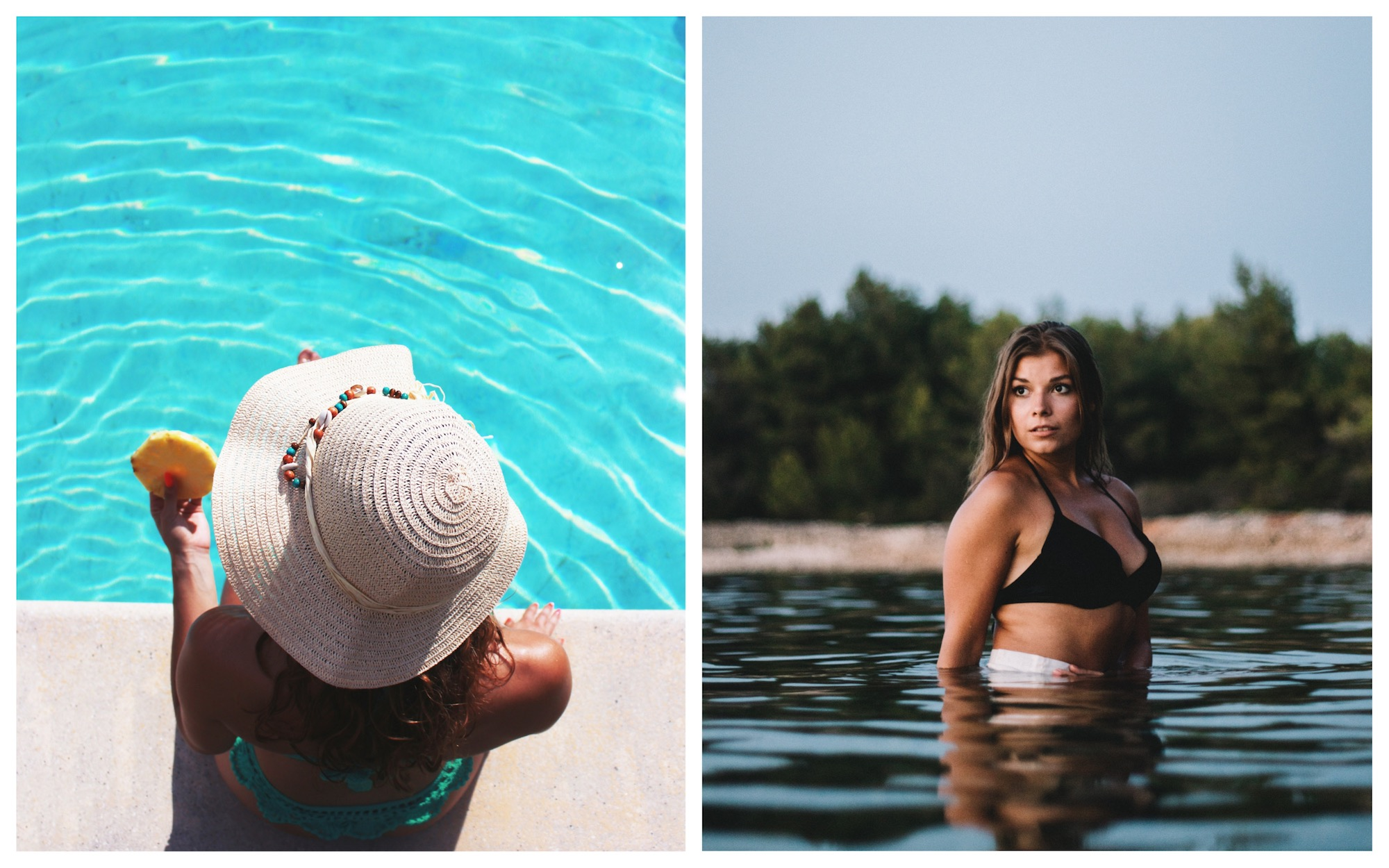 HiP Paris Blog tells you about one writer's experience bikini shopping in Paris including for summer hats like this white one that's perfect for the pool (left) as well as swimsuits for larger women like Ashley Graham (right).